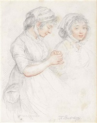 portrait of two young girls in cotten bonnets (study) by francesco bartolozzi