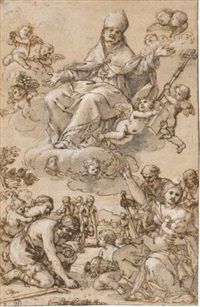 study for an altarpiece with saint thomas of villanova in glory, the needy receiving alms below by giacinto gimignani