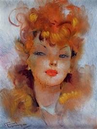 portrait d'une jeune femme rousse by jean-gabriel domergue