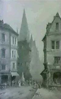 gadescene med gotisk kirke                 og grontboder by gregory