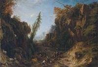 bewaldete gebirgslandschaft mit hirtenstaffage by cornelis huysmans
