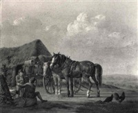 peasants and horses resting by a shed by anthony oberman