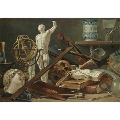 a vanitas still life with an adder in a pestle and mortar, a sculpted head, an astrolobe, an anatomical sculpture, a musical pipe, a skull, a violin, a globe, musical scores, manuscripts, a paint pale by antonio cioci