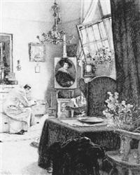 interieur: das atelier des künstlers, er selbst im malerkittel by josef köpf