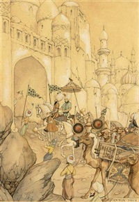 the 107st night, the story of aziz and aziza; the vizir entering the white city by anton pieck