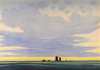 houses and grain elevators on the horizon by robert newton hurley