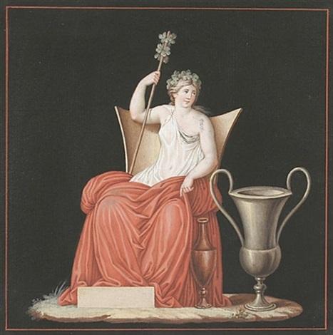 bacchantin mit thyrusstab auf einem lehnstuhl sitzend by andrea appiani