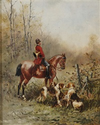 hunter with hounds by rené valette