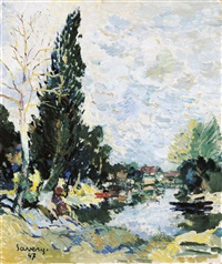 paysage de la lys by albert saverys