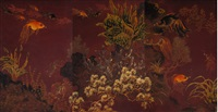 aquarium scene with goldfish of abundance (triptych) by pham hau