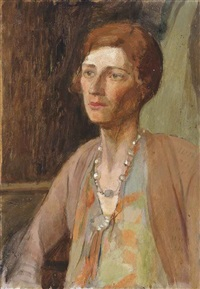 the italian woman; portrait of a woman in green and brown; pearls in a green dress; gentleman in a brown suit; man in a fez (5 works) by jean alexander