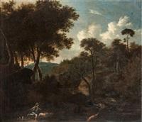 landskap med jägare, hundar och hjortar by frederick de moucheron