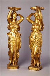 figura clasica sosteniendo copa (+ another; pair) by alfred desiré lanson