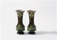 pair of vases by faience en tegelfabriek