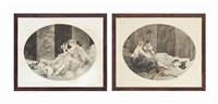 petit chiens (puppies) and les chatons (spilled milk) by louis icart