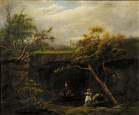 landscape with figures by mathurin arthur andrieu