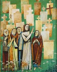 jesus und jünger vor einem gräberfeld stehend by gyorgy lehoczky