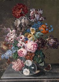großes blumenstilleben mit tulpen, pfingstrosen und orchideen by austrian school-vienna (19)