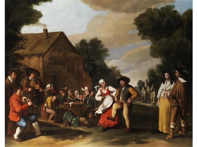 ländliches fest mit tanzendem bauernpaar by thomas van apshoven