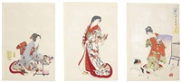 seventeen oban triptychs, sixteen from the series chiyoda no ooku (the inner chiyoda palace), depicting the hidden world of the shogun's princess and other women serving him in edo castle (17 triptychs) by toyohara chikanobu