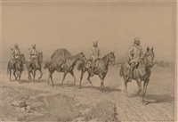 russian cavalry on a dusty track by nikolai dmitrievich dmitriev-orenburgsky