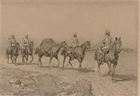 russian cavalry on a dusty track by nikolai dmitrievich dmitriev-orenburgsky