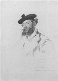 portrait de l'artiste, en buste et portant un bérêt by jules ferdinand jacquemart
