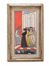 königin mit gefährtinnen vor sitzendem clown by francesco menzio