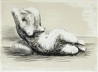 reclining woman on beach by henry moore
