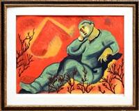 thinking man from ten masterprints by sandro chia