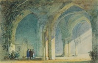 travellers within sunlit abbey ruins by william henry pyne