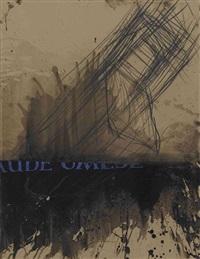 komposition mit blauer schrift by magdalena jetelova