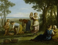 maidens picking flowers in a woodland landscape by paolo monaldi