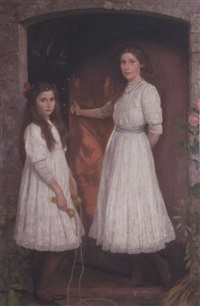two sisters by a garden gate by walter c. stritch hutton