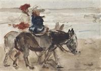 donkey ride on the beach, scheveningen by isaac israels