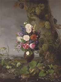 a still life of wild and cut flowers, a landscape beyond by frederik christian camradt