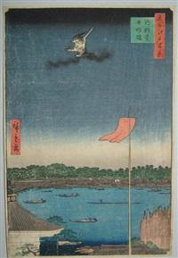 oban tate-e, série des 100 vues d'edo, le pont azuma by ando hiroshige
