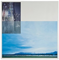 the overlap series: double motorcyclists and landscape (icelandic 2003) by john baldessari