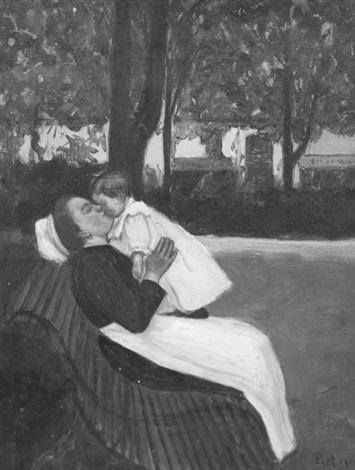 la nurse sur un banc by fernand piet