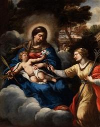maria mit dem kind in wolken und der heiligen klara von assisi by pietro da cortona