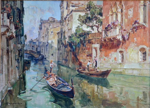 gondolas on a venetian canal by angelo brombo