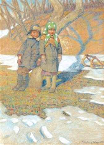 two children in the snow by nikolai petrovich bogdanov belsky