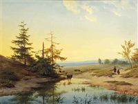 a moorland with figures and cattle by a pond by cornelis lieste