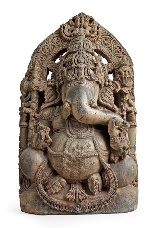 a stone figure of ganesha india karnataka hoysala period 1112th century