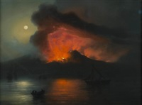 vesuvius at night by la pira