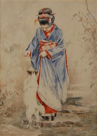geisha playing with dog by john la farge