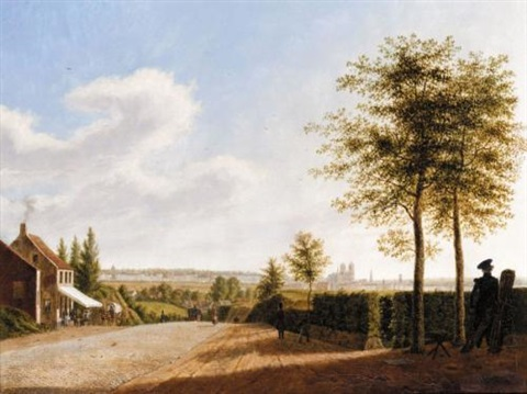 view of a continental city by augustus wijnantz