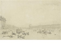 grande galerie du louvre, pont royal et quai voltaire (+ an etching with mezzotint of the subject after nash; 2 works framed together) by frederick nash