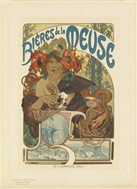 bières de la meuse. maîtres de l'affiche, plate 182 by alphonse mucha