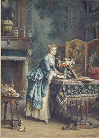 arranging flowers by emile pierre metzmacher